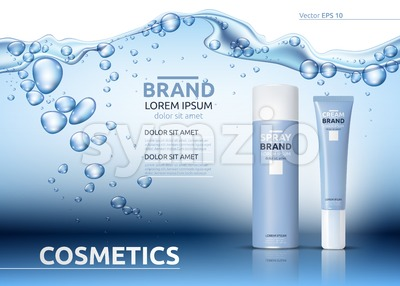 Aqua Moisturizing cosmetics ads template. Hydrating facial or body lotion. Mockup 3D Realistic illustration. Sparkling water drops over blue Stock Vector