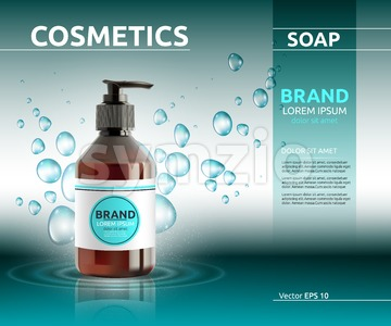 Liquid soap cosmetic ads template. Hydrating body lotion. Mockup 3D Realistic illustration. Sparkling bubbles over blue Stock Vector