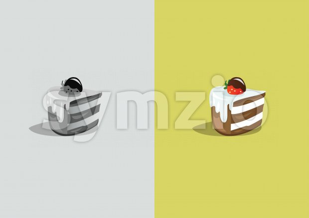 Digital vector funny comic cartoon colored and black and white piece of cake with cream and strawberry, abstract realistic flat style Stock Vector