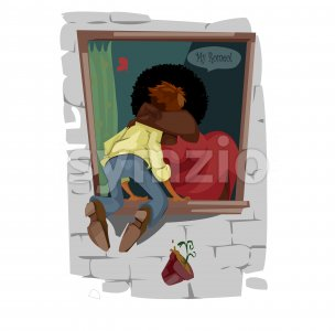 Digital vector funny comic cartoon romantic thin boy kissing by the window an afro fat girl with black hair, be my romeo heart, falling hotchpotch, Stock Vector