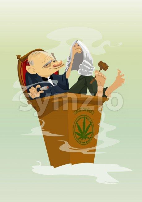 Digital vector funny comic cartoon colored judge smoking cannabis, hand drawn illustration, abstract realistic flat style Stock Vector