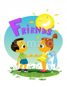 Digital vector funny comic cartoon girl and boy kid friends with toys holding and shaking by the fingers, happy sun, hand drawn illustration, abstract Stock Vector
