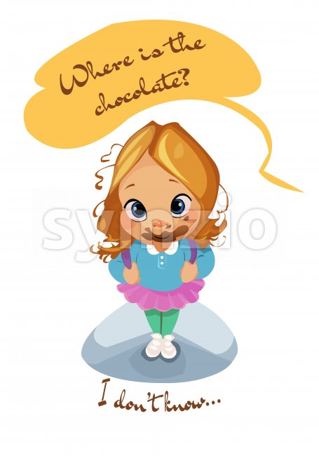 Digital vector funny comic cartoon pupil kid girl mouth full of dessert, i do not know where is the chocolate, dirty face, abstract realistic flat Stock Vector