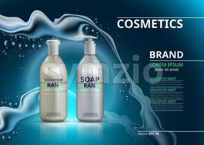 Shampoo and soap realistic bottles. Mockup 3D illustration. Cosmetic package ads template. Water effect Sparkling backgrounds Stock Vector