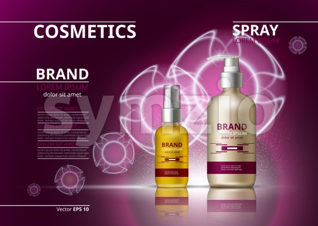 Cosmetic realistic package ads template. Hydrating skin oil and gel products bottles. Mockup 3D illustration. Sparkling backgrounds Stock Vector