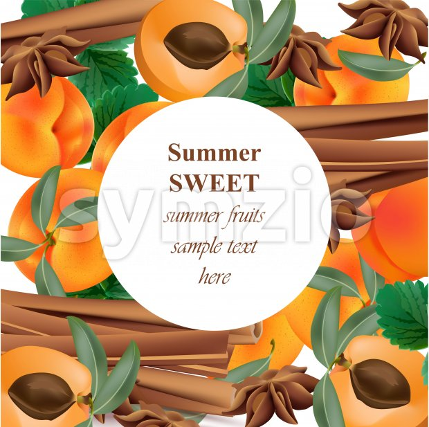 Summer appricot and cinnamon background pattern Vector illustration Stock Vector