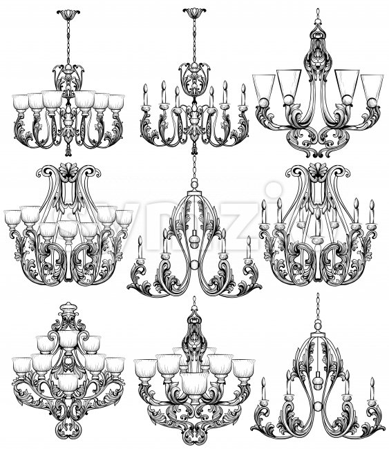 Rich Baroque Classic chandelier set. Luxury decors accessory design. Vector illustration sketch Stock Vector