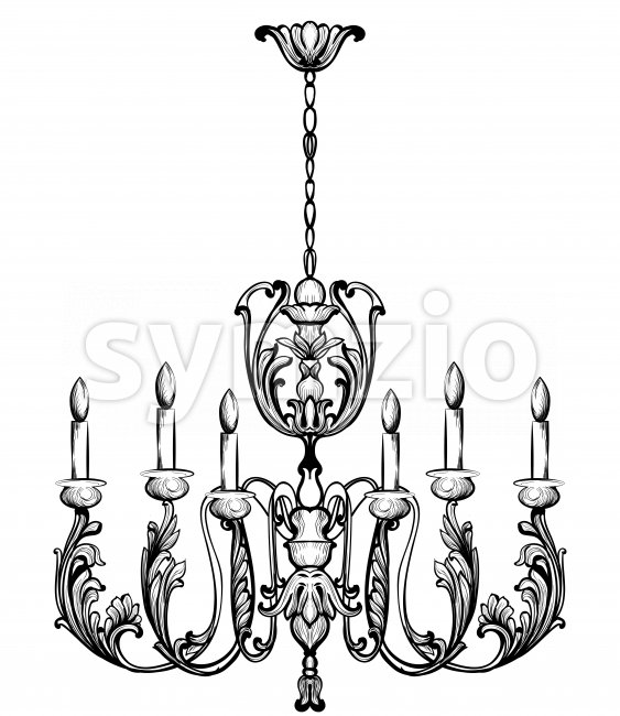 Rich Baroque Classic chandelier. Luxury decors accessory design. Vector illustration sketch Stock Vector