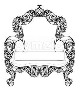 Baroque armchair with luxurious ornaments. Vector French Luxury rich intricate structure. Victorian Royal Style decors Stock Vector