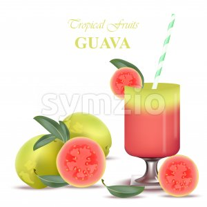 Smoothie Guava Vector exotic fruits cocktails fresh juicy tropic Stock Vector