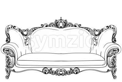 Baroque sofa with luxurious ornaments. Vector French Luxury rich intricate structure. Victorian Royal Style decors Stock Vector