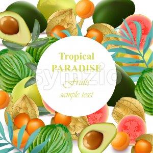 Tropical Paradise fruits avocado, papaya, gooseberry, palm leaves green Stock Vector