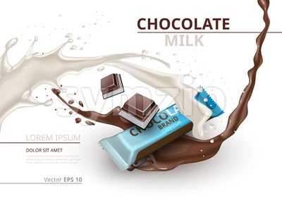 Chocolate bar with milk realistic Mock up Vector label design. Splash and chocolate drops backgrounds Stock Vector