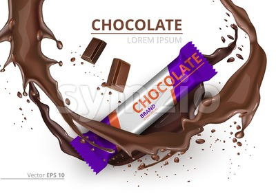 Chocolate bar realistic Mock up Vector label design. Splash and chocolate drops backgrounds Stock Vector