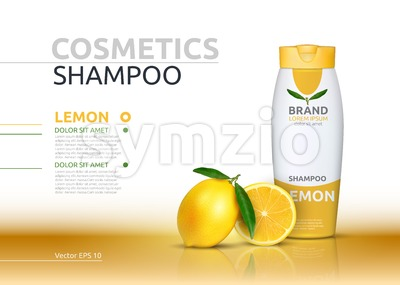 Shampoo cosmetic realistic mock up package orange essence. Vector 3D illustration. Cosmetic package ads template. Natural fruit detailed 3d element Stock Vector