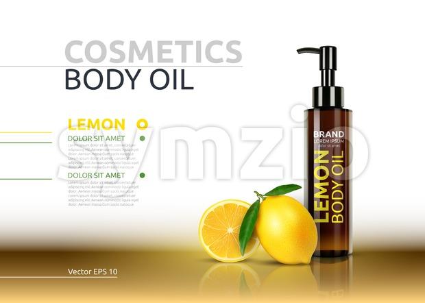 Lemon body oil realistic bottles. Vector Mockup 3D illustration. Cosmetic package ads template. Lemon fruit detailed 3d element Stock Vector