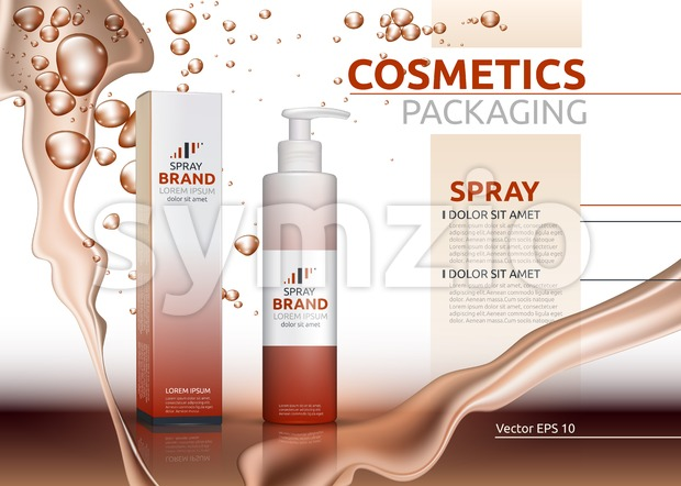 Vector Spray natural products realistic bottles. Mockup 3D illustration. Cosmetic package ads template. Splash Water effect backgrounds Stock Vector