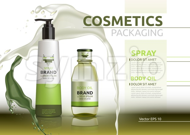 Body oil and spray natural products realistic bottles Vector. Mockup 3D illustration. Cosmetic package ads template. Splash Water effect background Stock Vector