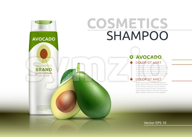 Shampoo cosmetic realistic mock up package avocado essence. Vector 3D illustration. Cosmetic package ads template. Natural fruit detailed 3d element Stock Vector