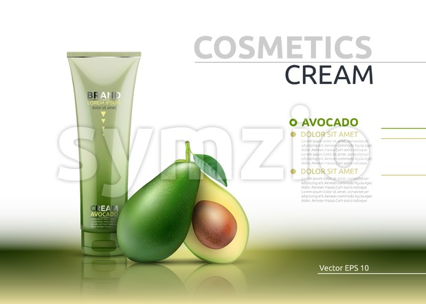Cream cosmetic realistic mock up package avocado essence. Vector 3D illustration. Cosmetic package ads template. Natural fruit detailed 3d element Stock Vector