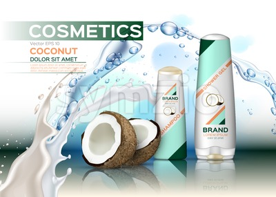 Vector Cosmetics set package with coconut. Hydration shampoo and conditioner with coconut water. Perfect for advertising, flyer, banner, poster. 3d Stock Vector