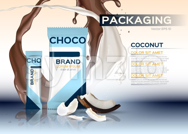 Coconut chocolate packaging Vector realistic. 3d label design product. Chocolate splash background Stock Vector
