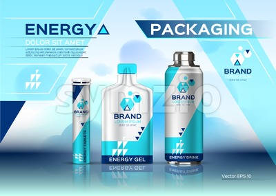 Energy realistic set mock up. Energy Drink, gel and pills product packaging. Vector 3d label design Stock Vector