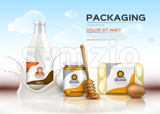 Vector realistic food products Milk and honey bottles, eggs packaging. 3d detailed mock up label design Stock Vector