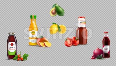 Digital Vector Realistic Juice Glass Bottles Package Mockup Collection, eglatine, mango, tomato, pomegranate, lemon, avocado Stock Vector