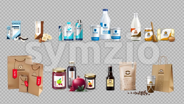 Vector realistic food products milk and honey bottles, eggs, jam, choco bars, coffee, energy drink packaging. 3d detailed mock up ...