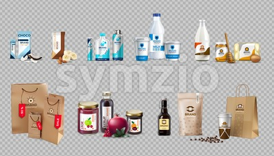 Vector realistic food products milk and honey bottles, eggs, jam, choco bars, coffee, energy drink packaging. 3d detailed mock up label design Stock Vector