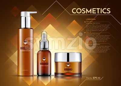 Cosmetics Vector realistic package ads template. Hair products bottles. Mockup 3D illustration. Sparkling background Stock Vector