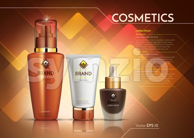 Cosmetics Vector realistic package ads template. Face cream and hair products bottles. Mockup 3D illustration. Abstract background Stock Vector