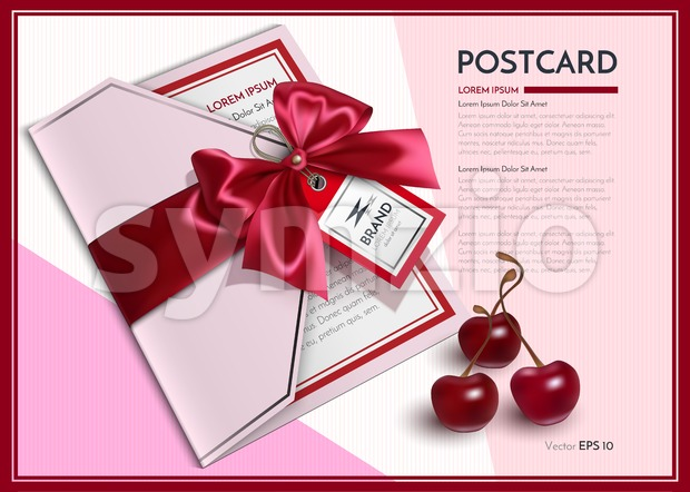 Realistic postcard or gift card Vector with red bow Stock Vector