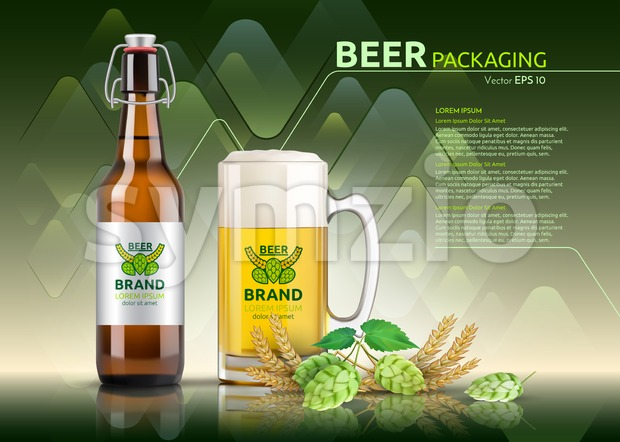 Vector Realistic beer bottle and glass. Brand packaging template. Logo designs. Green background Stock Vector