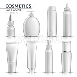 Realistic Cosmetic bottles mock up set on white background. Blank templates of empty and clean white plastic containers. Vector packaging tubes Stock Vector