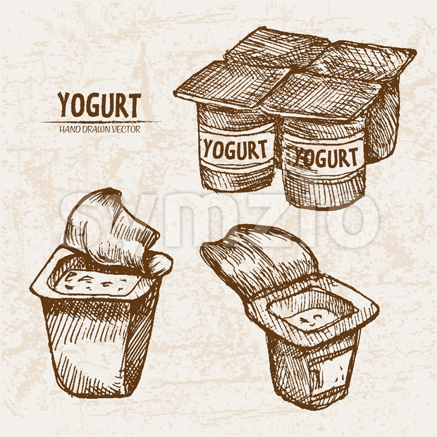 Digital vector detailed line art packed yogurt hand drawn retro illustration collection set. Thin artistic pencil outline. Vintage ink flat, engraved Stock Vector