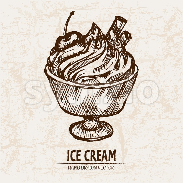 Digital vector detailed line art sundae ice cream in glass bowl hand drawn retro illustration collection set. Thin artistic pencil outline. Vintage Stock Vector