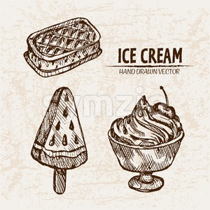 Digital vector detailed line art random ice cream presentation and hand drawn retro illustration collection set. Thin artistic pencil outline. Vintage Stock Vector
