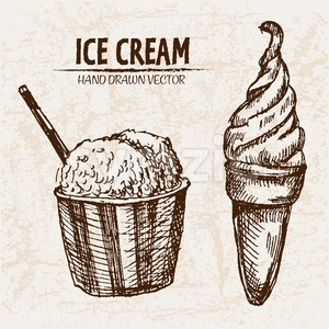 Digital vector detailed line art ice cream in cone and bowl hand drawn retro illustration collection set. Thin artistic pencil outline. Vintage ink Stock Photo