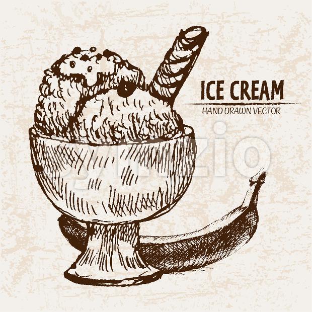 Digital vector detailed line art sundae ice cream banana in glass bowl hand drawn retro illustration collection set. Thin artistic pencil outline. Stock Photo