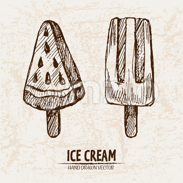 Digital vector detailed line art juicy ice cream on stick hand drawn retro illustration collection set. Thin artistic pencil outline. Vintage ink Stock Photo