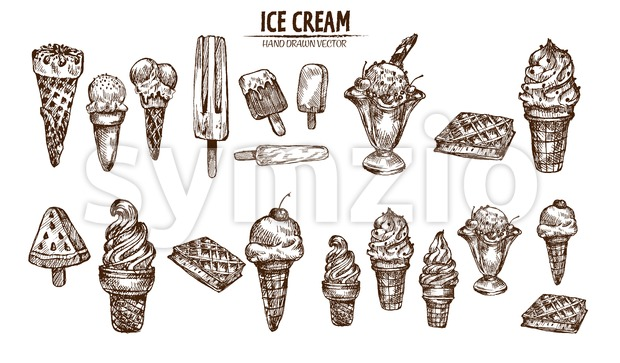 Digital vector detailed line art ice cream in cone and bowl hand drawn retro illustration collection set bundle. Thin artistic pencil outline. Vintage Stock Vector