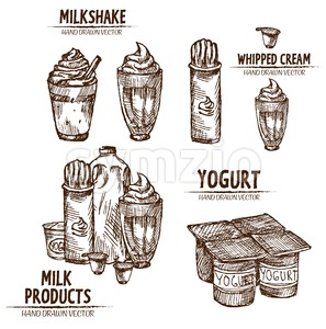 Digital vector detailed line art milk, milkshake, whipped cream and yogurt in different packages hand drawn retro illustration collection set. Thin Stock Vector