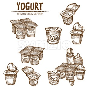 Digital vector detailed line art packed yogurt hand drawn retro illustration collection set. Thin artistic pencil outline. Vintage ink flat, engraved Stock Vector