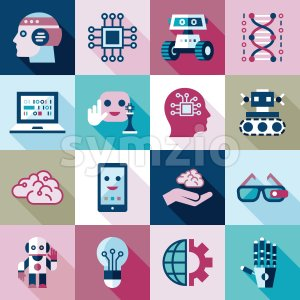 Digital vector artificial intelligence and electronic technologies simple flat icon set. Internet of things concept with chip, cars and mobile brain. Stock Photo
