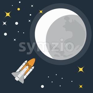 Space Rocket Flight to Moon. Galaxy Exploration. Rocket in Space. Moon with Stars. Vector digital illustration. Stock Vector