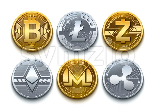 Digital vector cryptocurrency set icons. Bitcoin, Ethereum, Litecoin, Monero, Ripple and Zcash detailed coins illustration Stock Vector