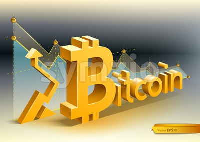 Digital vector bitcoin cryptocurrency chart diagram graphic payments money transfers financial concept Stock Vector