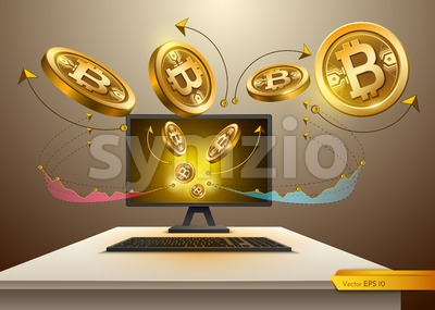 Digital Vector Bitcoin spread from Computer. Detailed cryptocurrency illustration with chart diagram graphic Stock Vector